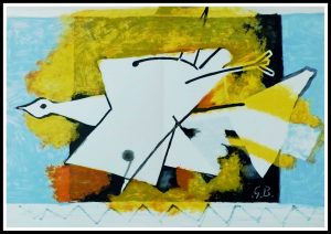 """(alt=""""lithography Georges BRAQUE l'oiseau jaune, abstract lithography monogrammed in the plate printed by MOURLOT 1959"""")"""