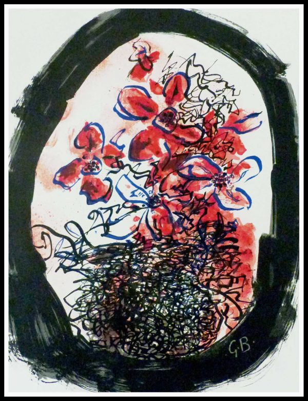 """(alt="""" Georges BRAQUE, flowers, 1961, original lithography, printed by Mourlot"""")"""