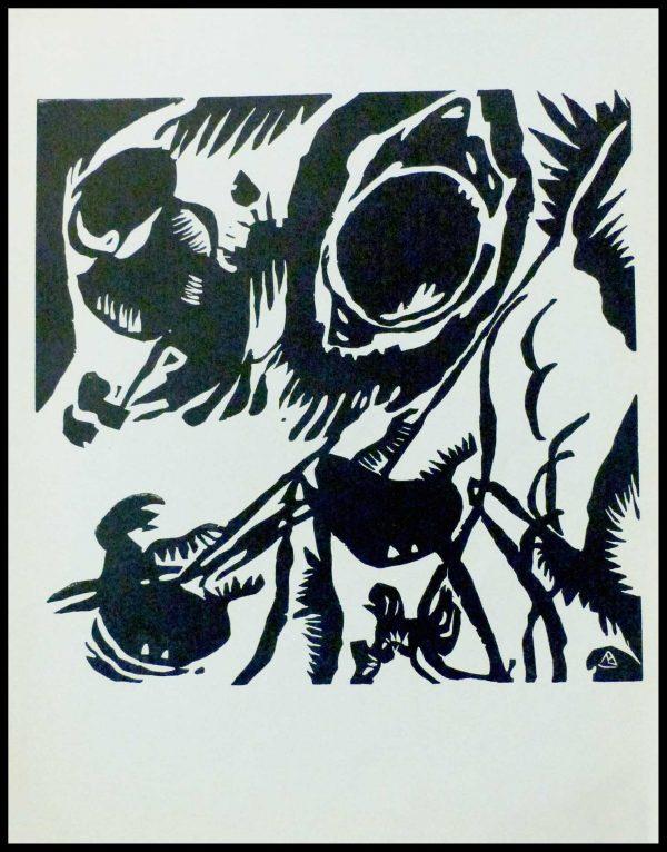 "(alt=""engraved wood, KANDINSKY, Motifs aux impressions, 1959, Limited edition, printed by MOURLOT Paris"")"