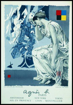 "(alt=""original vintage poster lithography la leçon de peinture for Agnès B, Loulou picasso 1986 signed in the plate and printed by W"")"