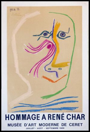 """(alt=""""original vintage poster lithography PICASSO, Hommage à René CHAR Musée CERET 1969, Limited edition"""")"""