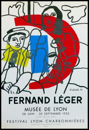 """(alt=""""original vintage poster lithography Fernand LEGER 1955 Lyon Museum signed and date in the plate printed by MOURLOT Paris"""")"""