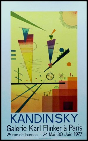 """(alt=""""vintage poster lithography KANDINSKY monogrammed in the plate 1977, Galerie Karl FLINKER Paris printed by IDL Graphiques"""")"""