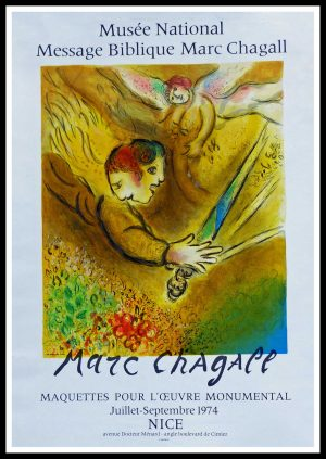 """(alt=""""original vintage poster lithography Marc CHAGALL, l'ange du jugement Musée Nice 1974 signed in the plate and printed by MOURLOT 1974"""")"""