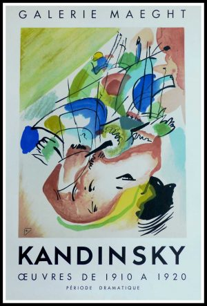 "(alt=""KANDINSKY, original vintage poster, lithography, Abstract improvisation Gallery MAEGHT PARIS, monogrammed and printed by MOURLOT 1955"")"