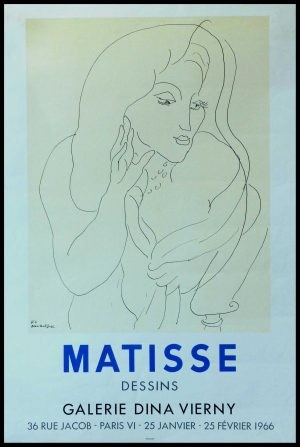 "(alt=""MATISSE, original poster, lithography, drawings, Gallery Dina Vierny, signed in the plate and printed by MOURLOT"")"