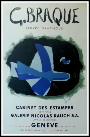 """(alt=""""Georges BRAQUE, original vintage poster lithography, Exhibition Cabinet des Estampes, 1958, limited edition signed in the plate printed by Mourlot Paris"""")"""