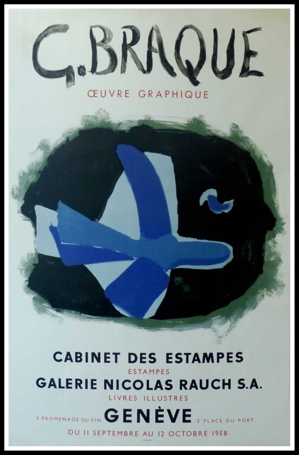 "(alt=""Georges BRAQUE, original vintage poster lithography, Exhibition Cabinet des Estampes, 1958, limited edition signed in the plate printed by Mourlot Paris"")"