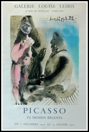 """(alt=""""PICASSO, original poster, lithography, Galerie Louise LEIRIS 1973 signed in the plate and printed by MOURLOT"""")"""