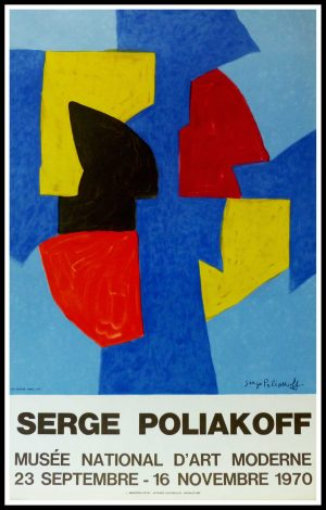 "(alt=""Serge POLIAKOFF, original vintage poster, exhibition Musée d'Art Moderne Paris, 1970, signed in the plate, printed by MOURLOT"")"