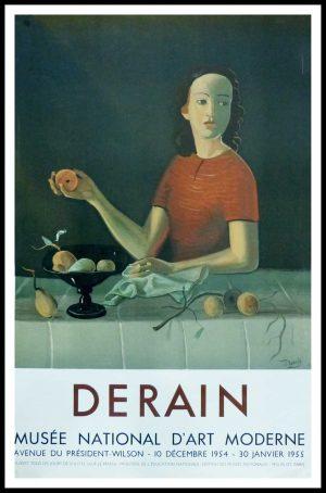 "(alt=""André DERAIN - Exposition Musée National d'Art Moderne, original gallery poster printed by Mourlot 1954"")"