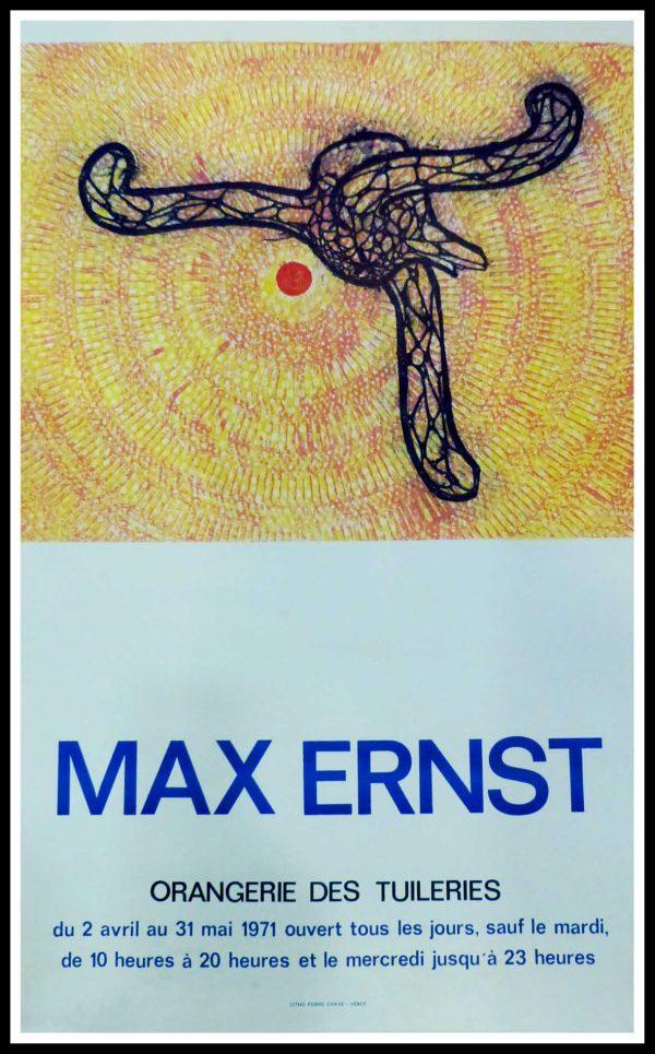 """(alt=""""Max ERNST, original vintage poster, Exhibition Orangerie des Tuileries, PARIS, 1971 printed by Pierre CHAVE"""")"""