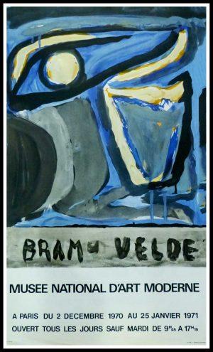 "(alt=""Bram VAN VELDE, Exposition Musée National d'Art Moderne, original gallery poster 1971 printed by Mourlot"")"