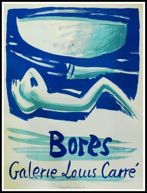 "(alt =""Fransisco BORES - Exhibition Gallery Louis CARRE, original gallery poster printed by MOURLOT 1956"")"