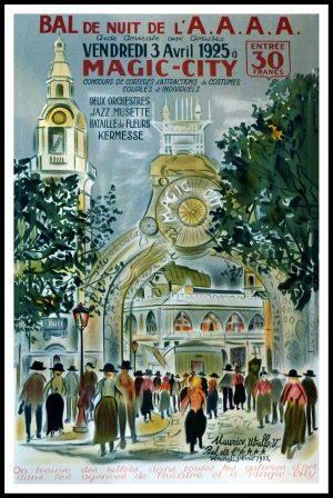 """(alt=""""original vintage poster lithography Maurice UTRILLO, Bal de Nuit de l'A.A.A. 1925 Magic city signed in the plate, épreuve sur velin d'arches 1921"""")"""