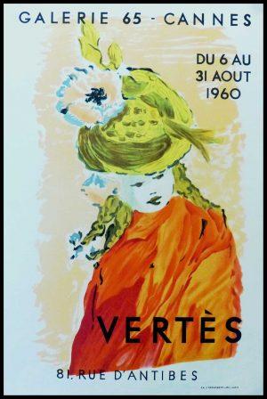 """(alt=""""VERTES - Galerie 65 Cannes, original vintage poster, lithography, printed by Desjobert 1960"""")"""