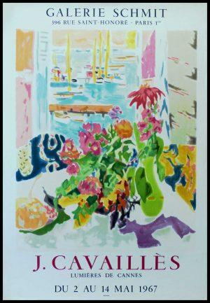 """(alt=""""CAVAILLES - Gallery SCHMIT Lumière de CANNES, original gallery poster printed by MOURLOT 1967"""")"""