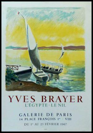 """(alt=""""Yves BRAYER - Galerie de PARIS, l'Egype, le Nil, original gallery poster, printed by MOURLOT 1967"""")"""