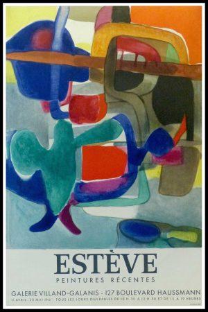 "(alt=""Maurice ESTVE - Peintures récentes Galerie Villand Galanis, original vintage gallery poster MOURLOT 1961 Limited Edition"")"