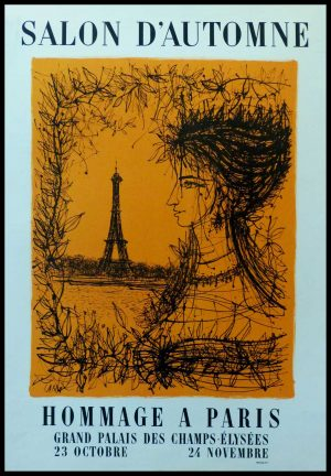 "(alt=""CARZOU - Hommage à Paris Eiffel tower, original vintage poster lithography, signed in the plate, printed by MOURLOT 1963"")"