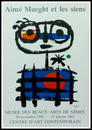 """(alt=""""Joan MIRO - Aimé MAEGHT Musée des Beaux Arts Nîmes, 1983, original vintage poster lithography signed in the plate, printed by ARTE"""")"""