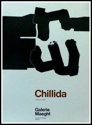 "(alt=""CHILIDA - Dessins et reliefs, Gallery MAEGHT Paris, printed by Mourlot circa 1970"")"