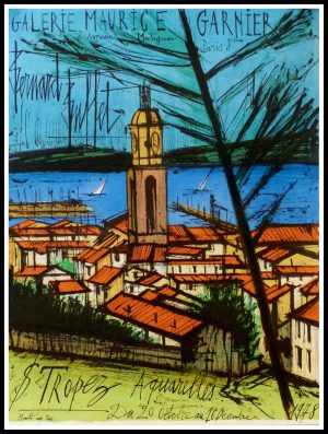 "(alt=""Bernard BUFFET - Saint Tropez Aquarelles, signed in the plate and printed by MOURLOT, original vintage poster lithography, 1978"")"