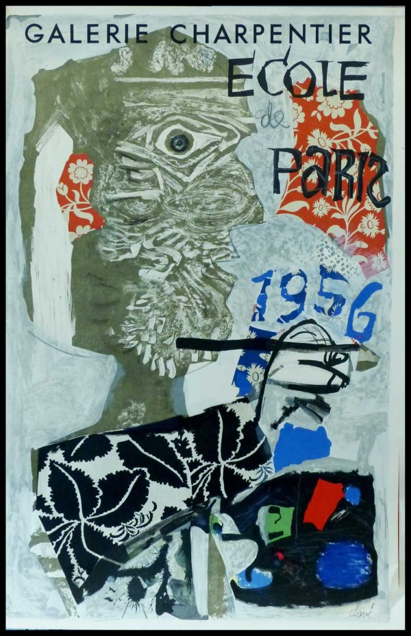 "(alt=""CLAVE - Ecole de Paris, Galerie Charpentier - original gallery poster signed in the plate, printed by MOURLOT Paris 1956"")"