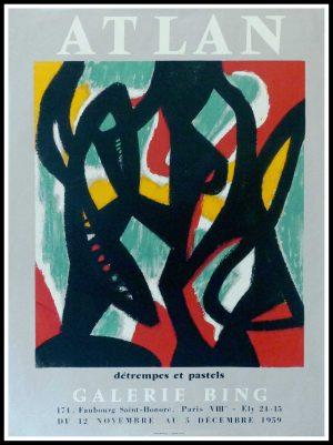 "(alt=""ATLAN - Gallery Bing Paris, original gallery poster printed by Serigraphy Paris Arts 1959"")"