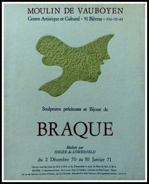 """(alt=""""Georges BRAQUE - Moulin de Vauboyen, exhibition Sculptures précieuses et bijoux, designed Heger de Löwenfeld, original gallery poster 1971"""")"""