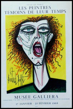 "(alt=""Bernard BUFFET - Musée Galliera peintres témoins de leur temps, original vintage poster lithography, signed in the plate and printed by MOURLOT 1968"")"