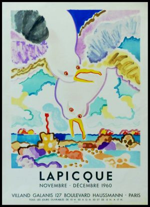 "(alt=""LAPICQUE - Gallery Villand Galanis, original vintage gallery poster, lithography printed by MOURLOT Paris 1960"")"