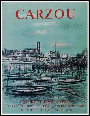 """(alt=""""CARZOU - Galerie Pierre Coren, Aix en provence, original vintage poster printed by MOURLOT 1960"""")"""