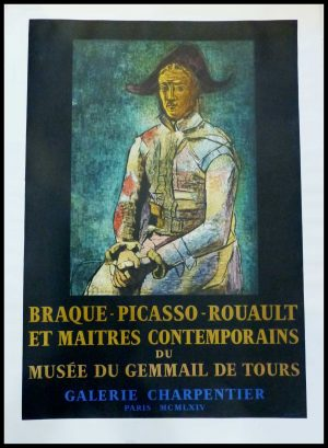 """(alt=""""original vintage poster lithography Pablo PICASSO, Musée du Gemmail Tours Galerie Charpentier 1964 signed in the plate and printed by MOURLOT"""")"""