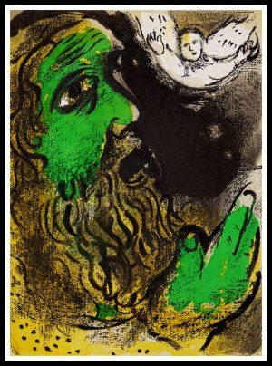 """(alt=""""original lithography Marc CHAGALL - Job en prière, Bible, limited edition, Mourlot Paris"""")"""