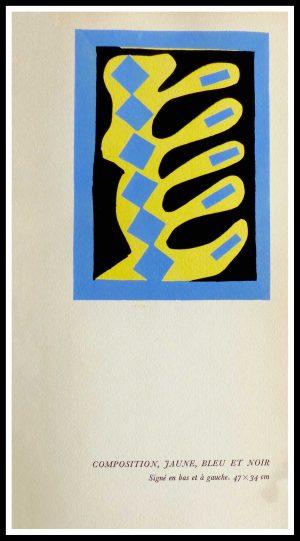 """(alt=""""original stencil Henri MATISSE - Composition jaune bleue et noire1953, printed by Mourlot, 1000 copies, catalogue Berggruen"""")"""