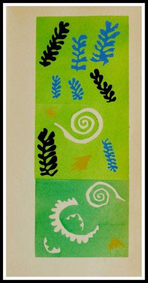 """(alt=""""original stencil Henri MATISSE - Tapis aux algues, 1953, printed by Mourlot, 1000 copies, catalogue Berggruen"""