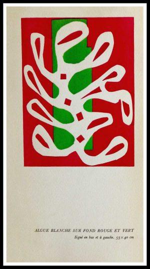 """(alt=""""original stencil Henri MATISSE - Algue blanche sur fond rouge et vert, 1953, printed by Mourlot, 1000 copies, catalogue Berggruen"""")"""