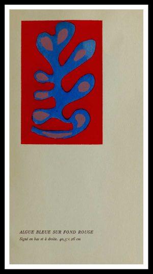 """(alt=""""original stencil Henri MATISSE - Algue bleue sur fond rouge, 1953, printed by Mourlot, 1000 copies, catalogue Berggruen"""")"""