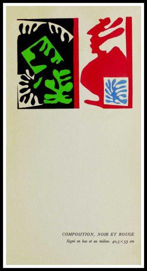 """(alt=""""original stencil Henri MATISSE - Composition noire et rouge, 1953, printed by Mourlot, 1000 copies, catalogue Berggruen"""")"""