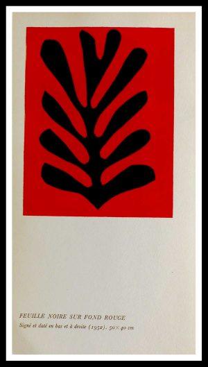 "(alt=""original stencil Henri MATISSE - Feuille noire fond rouge, 1953, printed by Mourlot, 1000 copies, catalogue Berggruen"")"