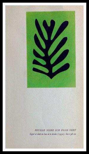 "(alt=""original stencil Henri MATISSE - Feuille noire sur fond vert, 1953, printed by Mourlot, 1000 copies, catalogue Berggruen"")"