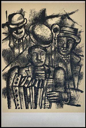 """(alt=""""Lithographie originale de Fernand Léger """"Les trois musiciens"""" 1952 imprimé par Mourlot, Paris. 1000 exemplaires, edition limitée"""")"""