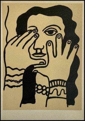 """(alt=""""Lithographie originale de Fernand Léger """" Femme aux mains """" 1952 imprimé par Mourlot, Paris. 1000 exemplaires, edition limitée"""")"""