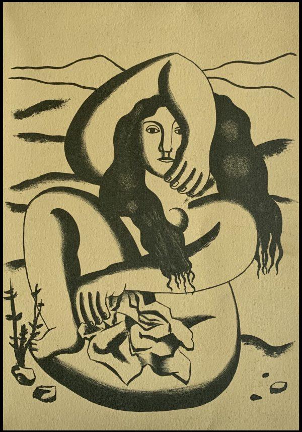 """(alt=""""Lithographie originale de Fernand Léger """" Femme """" 1952 imprimé par Mourlot, Paris. 1000 exemplaires, edition limitée"""")"""