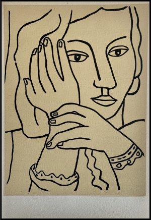 """(alt=""""Lithographie originale de Fernand Léger """" Femme pensive """" 1952 imprimé par Mourlot, Paris. 1000 exemplaires, edition limitée"""")"""