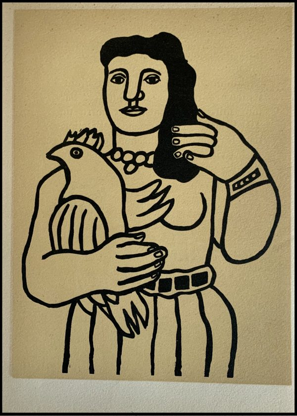 """(alt=""""Lithographie originale de Fernand Léger """"La femme au perroquet"""" 1952 imprimé par Mourlot, Paris. 1000 exemplaires, edition limitée"""")"""