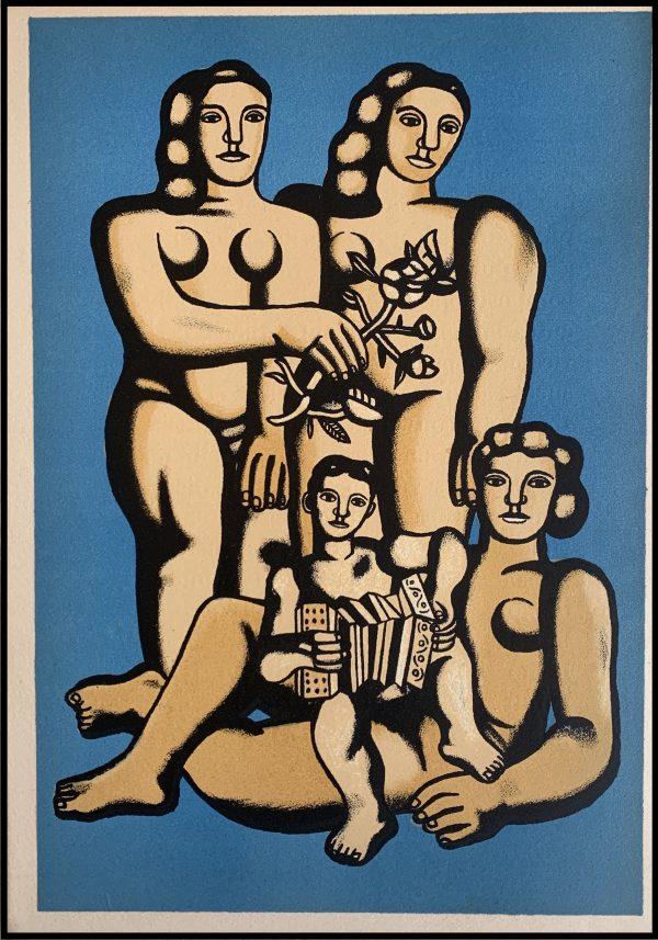 """(alt=""""Pochoir original de Fernand Léger """"Les femmes et enfant à l'accordéon"""" 1952 imprimé par Mourlot, Paris. 1000 exemplaires, edition limitée"""")"""