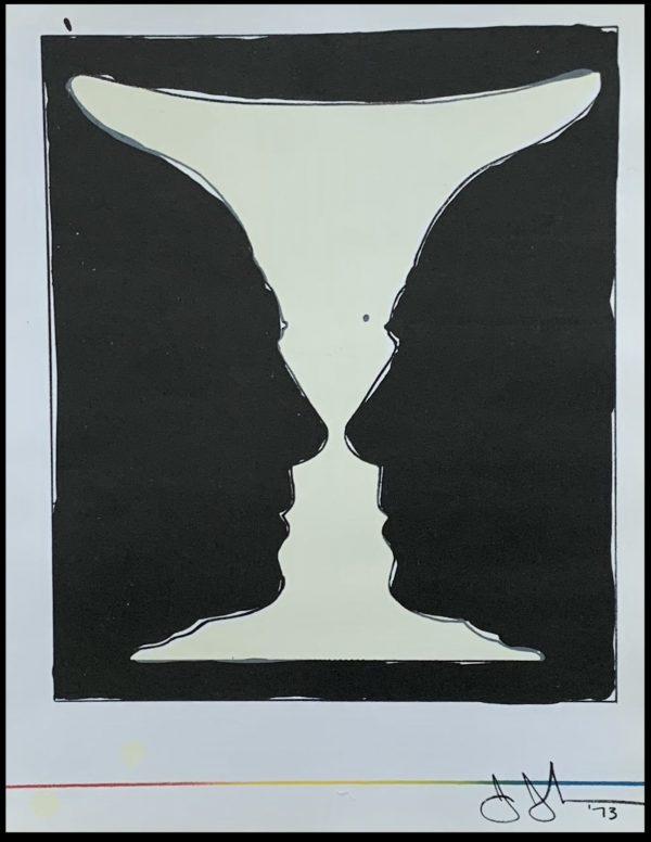 """(alt=""""Lithographie originale Jasper Johns - Cup Two Picasso, 1973. Signée et datée dans la planche imprimée par Mourlot, edition limitée"""")"""