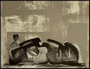 """(alt=""""Original lithography, Reclining Figure by Henri Moore, 1977. Printed by Atelier Curwen. Not signed, edition San Lazarro, 1977"""")"""